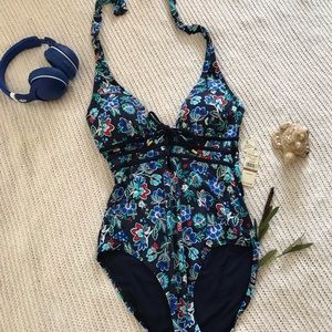 Tommy Bahama Lace-up One-Piece Bathing Suit